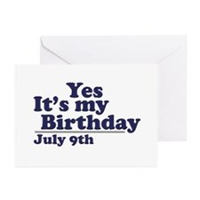July 9 Birthday Greeting Cards (Pk of 10)