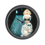 Big Eyed Pope with Poodle Painting Wall Clock