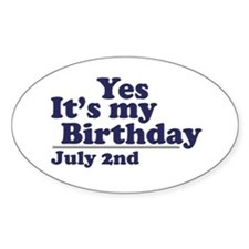 July 2 Birthday Oval Decal
