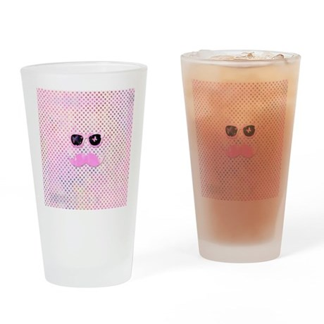 Funny Mustache Hipster Glasses Pink Drinking Glass