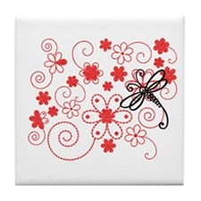 Flowery Dragonfly Art Tile Coaster