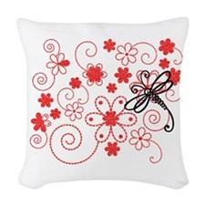 Flowery Dragonfly Art Woven Throw Pillow