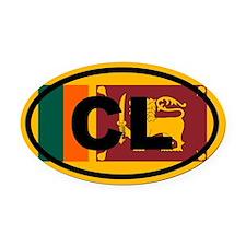 Sri Lanka Ceylon Flag Oval Car Magnet