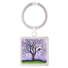 Newton Stray Cat in Tree Square Keychain