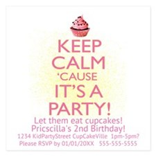 Personalize Birthday Party 5.25 X 5.25 Flat Cards
