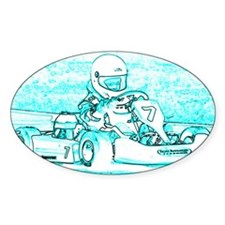 Kart Racer Teal and White Decal