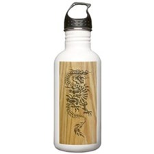 Tribal Dragon on Wood Water Bottle