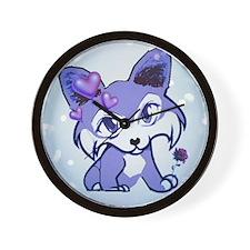 Purple Manga Hearts Valentine Wall Clock
