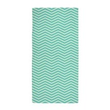 Aqua Chevron Stripes Beach Towel