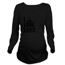 I Love Yoga Long Sleeve Maternity T-Shirt