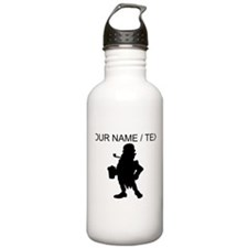 Custom Leprechaun With Beer Silhouette Water Bottl