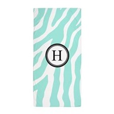 Aqua Black Zebra Monogram Beach Towel