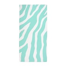Aqua White Zebra Pattern Beach Towel