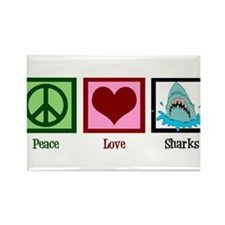 Peace Love Sharks Rectangle Magnet (10 pack)