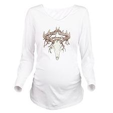 Deer Skull Long Sleeve Maternity T-Shirt