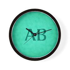 Teal Green Monogram Wall Clock