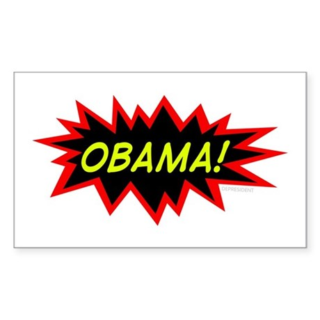 Cartoony Obama Rectangle Sticker