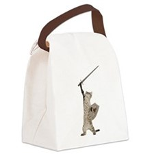 Heroic Warrior Knight Cat Canvas Lunch Bag