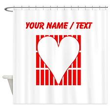 Custom Red Vertical Bricks Background Heart Shower