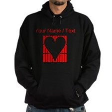 Custom Red Vertical Bricks Background Heart Hoody