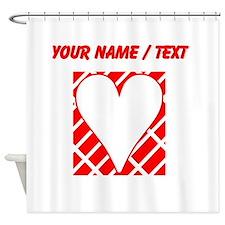 Custom Red Diagonal Bricks Background Heart Shower