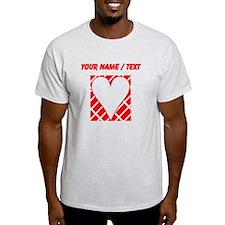 Custom Red Diagonal Bricks Background Heart T-Shir