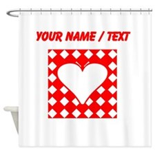 Custom Red Checkered Heart Square Shower Curtain