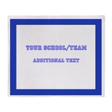 Throw Blanket White Royal Blue Border Team/School
