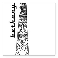 "Cute Totem pole Square Car Magnet 3"" x 3"""