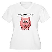 Custom Pink Pig Cartoon Plus Size T-Shirt