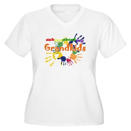 ask me about my grandkids Women's Plus Size V-Neck