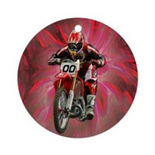 Dirt biker blasting thru red Ornament (Round)
