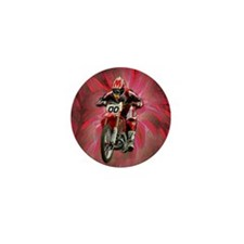 Dirt biker blasting thru red Mini Button (100 pack