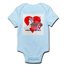 Gray Siberian Husky Infant Bodysuit
