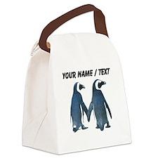 Custom Penguins Holding Hands Canvas Lunch Bag