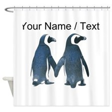 Custom Penguins Holding Hands Shower Curtain