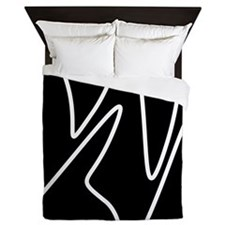 White On Black Abstract Waves Queen Duvet