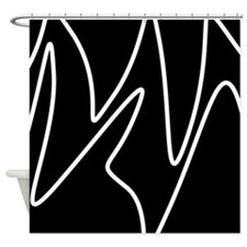 White On Black Abstract Waves Shower Curtain