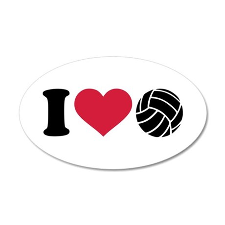 I love Volleyball 35x21 Oval Wall Decal