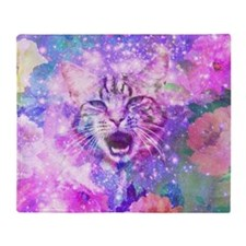 Girly Kitten Cat Romantic Floral Pin Throw Blanket