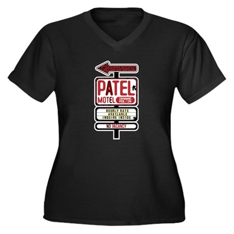 Patel Motel Women's Plus Size V-Neck Dark T-Shirt