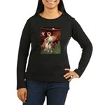 Seated Angel & Boxer Women's Long Sleeve Dark T-Sh