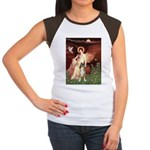 Seated Angel & Boxer Women's Cap Sleeve T-Shirt