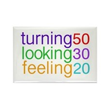 Turning 50 Looking 30 Rectangle Magnet (10 pack)