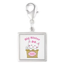 Personalized Kitty Big Sister Silver Square Charm
