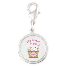 Personalized Kitty Big Sister Silver Round Charm