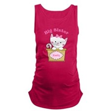 Personalized Kitty Big Sister Maternity Tank Top