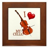I Love My CELLO Framed Tile