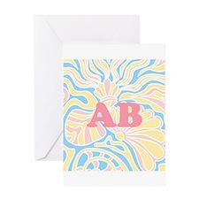 Pink Initails Pretty Seaside Pastel Design Greetin