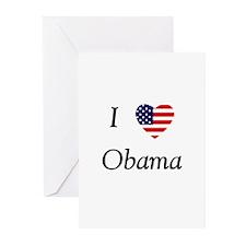 I love Obama (flag) Greeting Cards (Pk of 10)